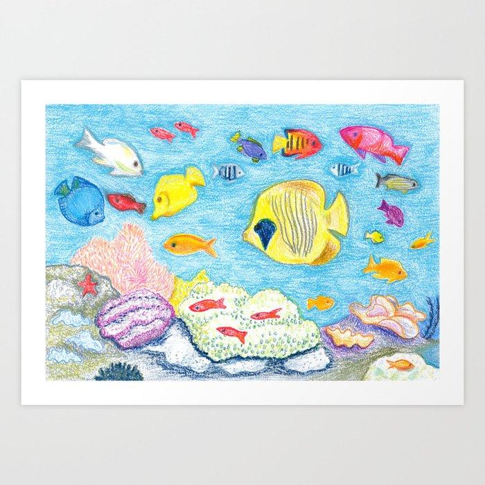 Crayon Fish Art Print