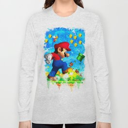 Super Mario Van Gogh style Long Sleeve T-shirt