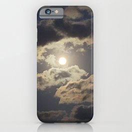 The moon in the clouds at Jimibong, Jeju at dawn. iPhone Case