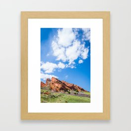 Red Rocks In Colorado And Green Field, Big Sky (Portrait) Framed Art Print
