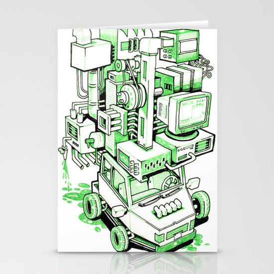 Green Machine Car Stationery Cards