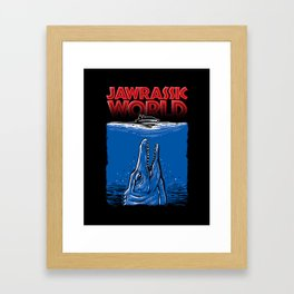 JAWrassic World - Jurassic World / Jaws Mashup Framed Art Print