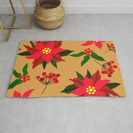 Winter Floral, Christmas Stars Rug