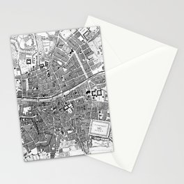 Vintage Map of Dublin Ireland (1797) BW Stationery Cards
