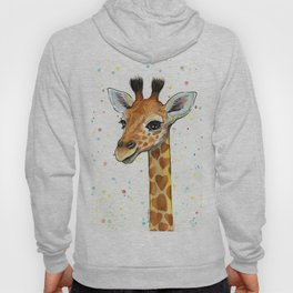 Baby-Giraffe-Nursery-Print-Watercolor-Animal-Portrait-Hearts Hoody