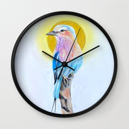 Lilac Breasted Roller Painting Wall Clock