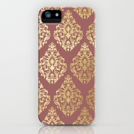 Burgundy rose gold elegant damasque iPhone Case
