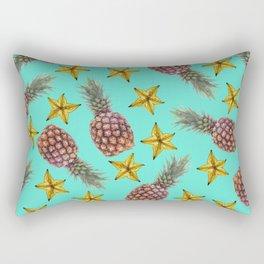 Starfruits - Pineapple pattern - turquoise background Rectangular Pillow