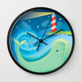 swimming whale Wall Clock