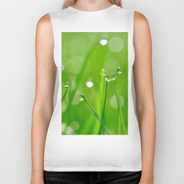 Green Grass Grows, Water droplets, Macro Fine Art Photography Biker Tank