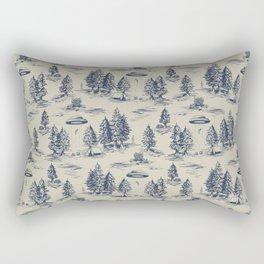 Alien Abduction Toile De Jouy Pattern in Blue Rectangular Pillow