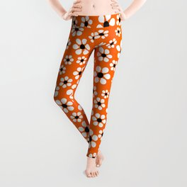 Dizzy Daisies - Orange Leggings