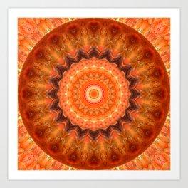 Mandala orange brown Art Print