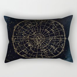 Golden Star Map Rectangular Pillow