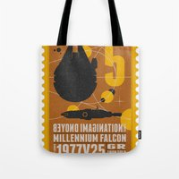 battlestar Tote Bags featuring Beyond imagination: Millenium Falcon postage stamp  by Chungkong