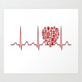Chemistry Teacher Heartbeat Art Print