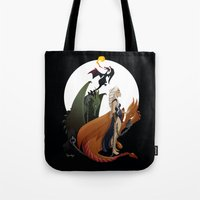 mother of dragons Tote Bags featuring Mother of Dragons by LaPendeja