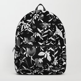 Colourscape Summer Floral Pattern Black and White Backpack