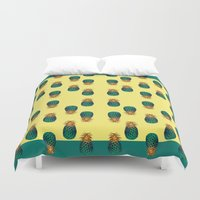 pineapples Duvet Covers featuring PINEAPPLES by Heaven7