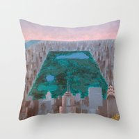 central park Throw Pillows featuring central park by cityclectic design