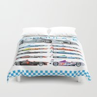 formula 1 Duvet Covers featuring Formula E Cars by Pleasure Time