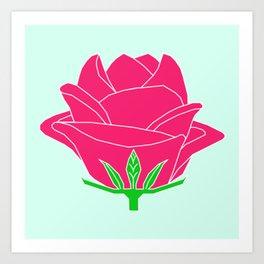 Rose - abstract art flower - pink - blue Art Print