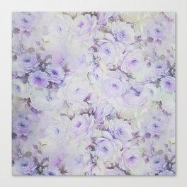 Vintage lavender gray botanical roses floral Canvas Print
