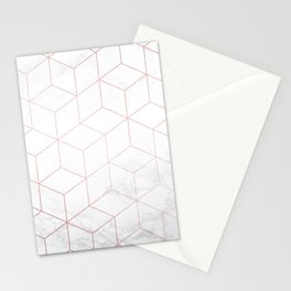 Rose Gold Geometric White Mable Cubes Stationery Cards