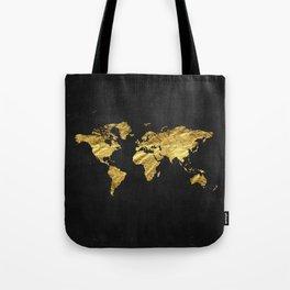 Black Gold Decor, Gold World Map, Office Decor, Bathroom, Glam, Black Wall Art Tote Bag