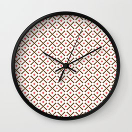 Chocolate Brown + Coral:  Pattern No.3 Wall Clock