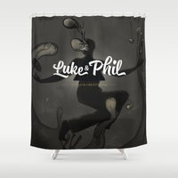 phil jones Shower Curtains featuring Luke and phil by Flester
