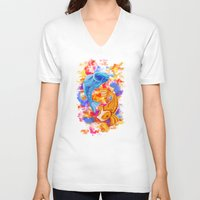 koi V-neck T-shirts featuring Koi  by Nelson J