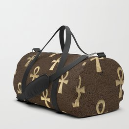 Brown & Gold Ancient Egyptian Ankh Symbol Of Life Pattern Duffle Bag