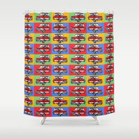 dale cooper Shower Curtains featuring mini cooper by Pedro Vale