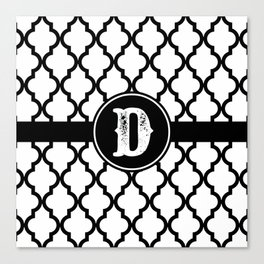 Black Monogram: Letter D Canvas Print