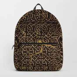 Celtic Wood Pattern with Gold Accents Backpack