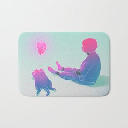 Girl with her Cat 2 Bath Mat