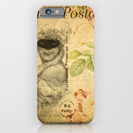 LADY ON VINTAGE FRENCH POSTCARD iPhone Case