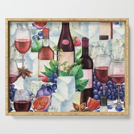 Watercolor wine glasses and bottles decorated with delicious food Serving Tray