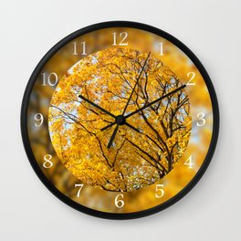 Yellow leaves autumn trees Wall Clock