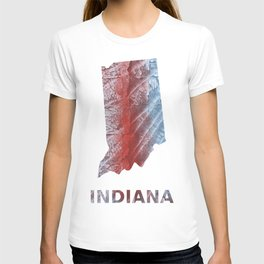 Indiana map outline Red blue watercolor T-shirt