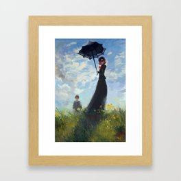 nanny with a parasol Framed Art Print