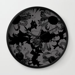 Black and white daisies Wall Clock