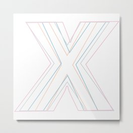 Intertwined Strength and Elegance of the Letter X Metal Print