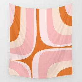 Retro Groove Pink and Orange - Cheerful Abstract Minimalist Pattern Wall Tapestry