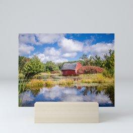 Sinking red barn in Zimmerman Minnesota, slowly sinks into the lake Mini Art Print