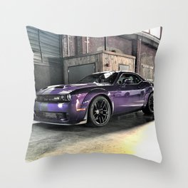 Plum Crazy Purple Challenger Demon Hellcat Redeye Throw Pillow