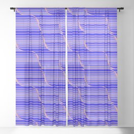 Geo Stripes - Cobalt Blue Sheer Curtain