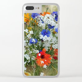 Wildflowers in a summer meadow Clear iPhone Case