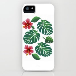 Hibiscuses and Palm Leaves iPhone Case